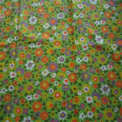 Vintage Cotton Terry Towelling Fabric 118x95 1960s Green Orange Daisy Floral