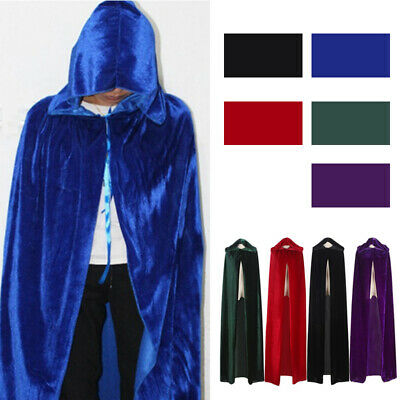 Halloween & Christmas Hooded Cloak Robe Medieval Witchcraft Cape Robe Costume W