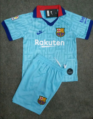 19/20 New Blue Football Soccer Suits Training Jerseys Kits For Kids Boys Adult
