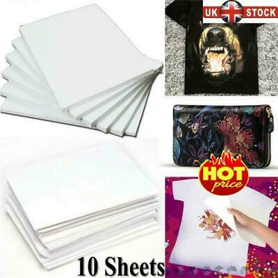 10X A4 Heat Transfer Iron-On Paper For Light &Dark Fabric Cloth T-shirt Painting