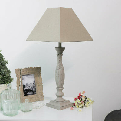 Large Vintage Style Table Lamp Stone Grey French Shabby Chic Home Decor Lighting