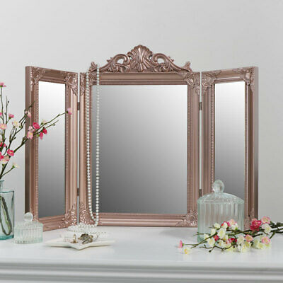 Rose Gold Pink Ornate Dressing Table Triple Mirror Make up vanity table top gift