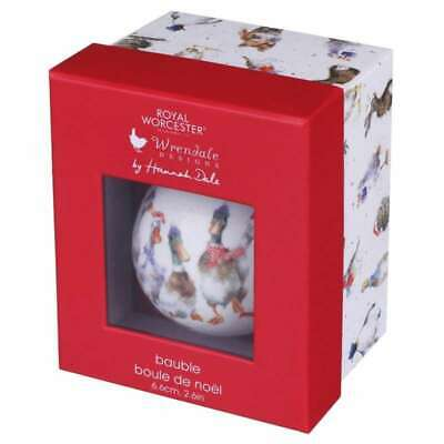 Wrendale Royal Worcester Ducks All Wrapped Up Christmas Bauble New Boxed