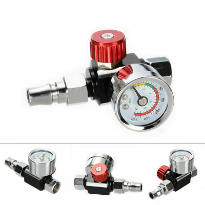 "1/4"" Mini Air Regulators Valve Tools Tail Pressure Gauge w/ Nozzle For Gun Spray"