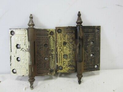 "2 Antique Eastlake Steeple Top Door Hinges 4.5"" x 4"" HI#90"