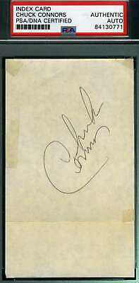 CHUCK CONNORS PSA DNA Coa Hand Signed 3x5 Index Card Autograph