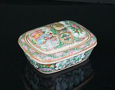 Antique Chinese Canton Famille Rose Porcelain Soap Case Box 19th C QING