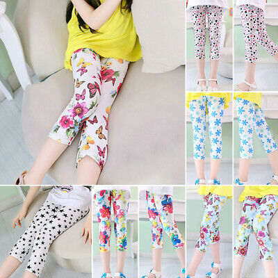 Summer girls Kids children Fashion Floral Printed leggings pants trousers Casual