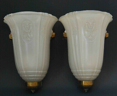 Vintage Classic Art Frosted Glass Deco Slip Shade Wall Sconce Pair 1920'S