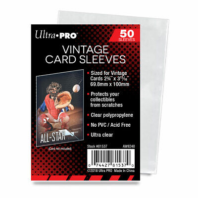 "1000 Ultra Pro Vintage Card Sleeves PVC Free Acid Free 2-3/4"" X 3-15/16"""