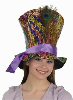 Shiny Metallic Rainbow Colorful Tall Top Hat Mad Hatter Adult Costume Accessory