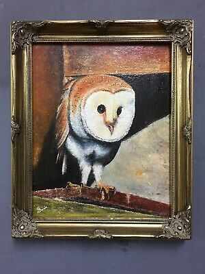 Original Oil On Canvas Painting Of An Owl In Gold Gilt Frame, Signed.