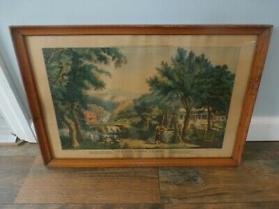 Vintage Antique Framed Art Currier & Ives Print Old Oaken Bucket Rustic House