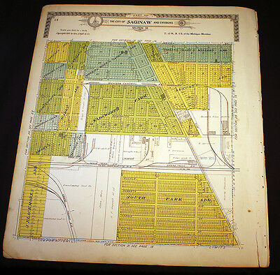 City of Saginaw Environs Section 30 or W½ of Section 20 Michigan 1910 Plat Map
