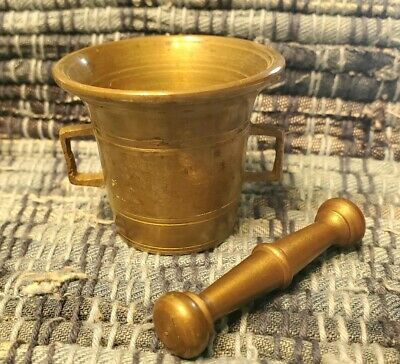 Sweet Antique Brass Primitive Mortar and Pestle Set Apothecary Wiccan Pagan