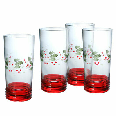 Pfaltzgraff Christmas Winterberry Set of 4 Etched Cooler Glasses