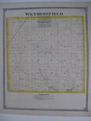 Antique 1875 Wethersfield Edford Township Henry County Illinois Handcolored Map
