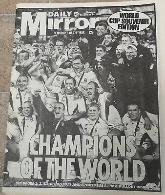 ENGLAND Rugby World Cup Winners 2003 Newspaper Swing Low Sweet Chariot Union USA