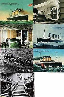 7 Titanic Small Mini Postcards Pictures Photos Drawings of Ship Gym Cabin Retro