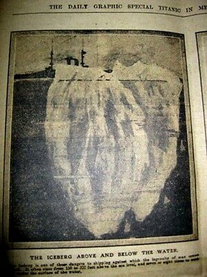 1912 TITANIC Newspaper Daily Graphic Ice Berg Captain Smith Disaster Sad Deaths