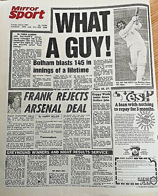 1981 Newspaper England bt Austrailia Ashes Cricket Ian Botham Batting 3rd Test