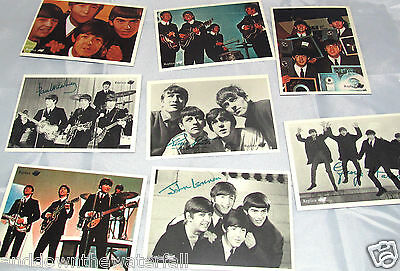 8 Old Cards Autographs BEATLES 60s retro vintage trade gum Rock n Roll Liverpool
