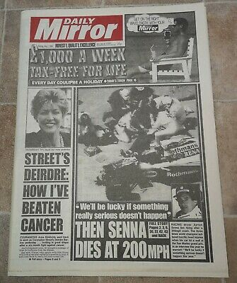 1994 Aryton Senna Dies Newspaper Motor Sport Imola Grand Prix British Legend UK