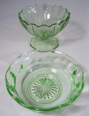 Vintage art deco green depression glass sweets bowl x 2- kitchenalia