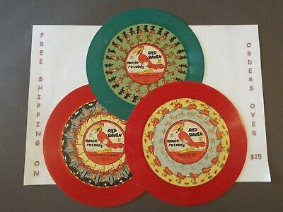 """LOT: 3x8"""" 78 RPM RED RAVEN MOVIE RECORDS LITTLE RED ENGINE TEDDY BEARS PICNIC+"""