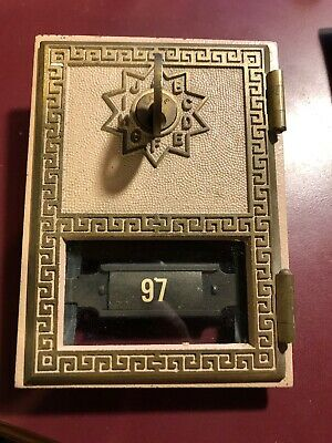 Vintage Antique Post Office Door Postal Mail PO Box with KEY 1973