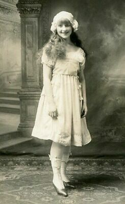 RPPC SMILING YOUNG GIRL w HAT & FABULOUS SHOES ANTIQUE REAL PHOTO POSTCARD c1910