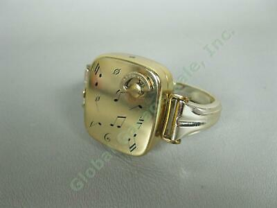 Vintage Reuge Ste-Croix Wind-Up Brass Music Box with Nickel Fitted Wrist Band NR