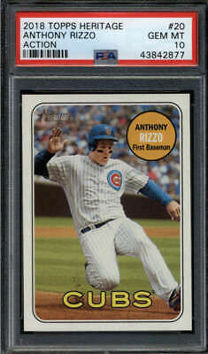 Anthony Rizzo 2018 Topps Heritage #20 Psa 10 Gem Mint Action Short Print Ss8170