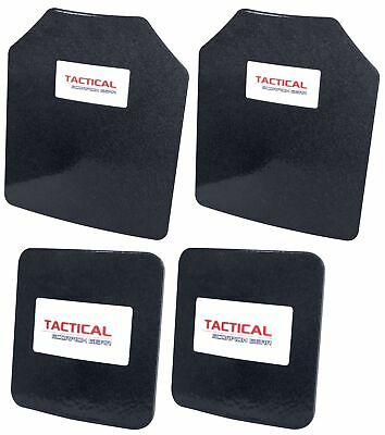 Level III AR500 Steel Body Armor Curved 4pc set 11x14 + 6x6 Coated Quick Ship