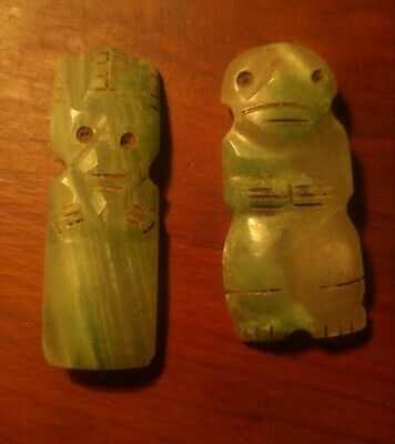 Pair of Pre Columbian green stone Costa Rican beautifully carved figures