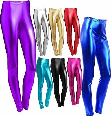 Girls Shiny Metallic Leggings Children Kids Wet Look Foil Shiny Party Pants