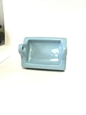 Vintage *Light Blue* Glossy Ceramic Toilet Paper Holder  Old Stock