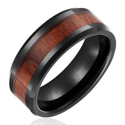 8mm Fashion Men Stainless Steel Wood Black Filled Inlaid Band Ring Size 6