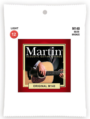 Martin M140 Light 80/20 Bronze Acoustic Guitar Strings. 12-54 Gauge, Set of 6.