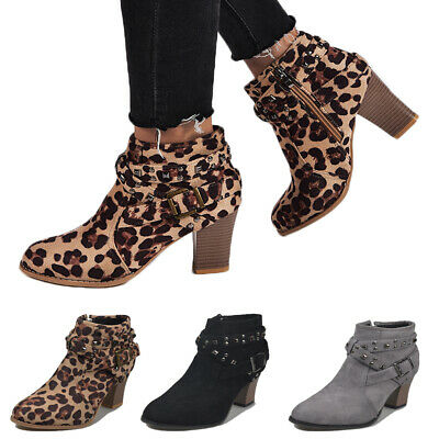 Womens Zip Block Chunky Heel Ankle Boots Ladies Suede Casual Booties Shoes Size