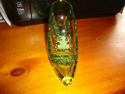Miniature Acrylic Green Shoe  with Alloy Rhinestone Frog, as new in container