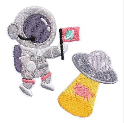 UFO Space Man Iron On Patch- Kids Fancy Dress Up Astronaut Applique Badge Sew LC