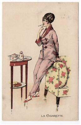 Early ART DECO  Glamorous Lady with Cigarette French  Postcard