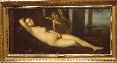 Large 17th 18th Century Italian Old Master Venus Cupid Nude TITIAN Antique