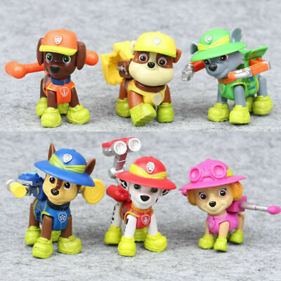 6 PCS Paw Patrol Jungle Rescue Movie Action Figure Cake Topper Doll Gifts Toys