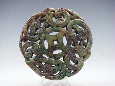Old Nephrite Jade 2 Sides LARGE Pendant Curly Phoenix Birds & Old Coin #07131911