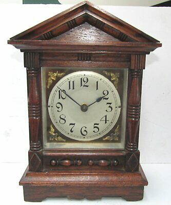 Antique French Brass & Oak Mantle Clock