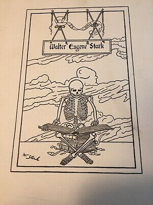 Antique Ex Libris Book Plate WALTER EUGENE STARK Cartoonist & Animator -Skeleton