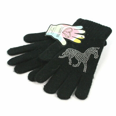 Knitted Ladies/Girls Gloves with Sparkly Silver Horse Motif