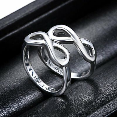2Pcs Big/Lil Sister Love Silver Filled Women Size 7 Infinity Ring Jewelry Double